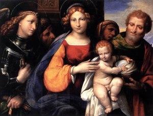 Virgen María, con el niño Jesús, San José y San Miguel Arcángel