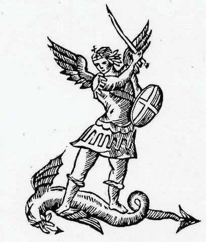 San miguel arc ngel en el emblema de bruselas san miguel for St michael coloring page