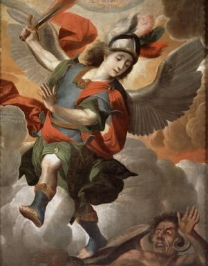 Arcángel San Miguel derrotando a Satanás