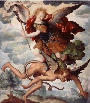 Arcángel Miguel luchando contra Lucifer