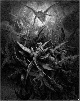 San Miguel Arcángel sometiendo a los ángeles caídos