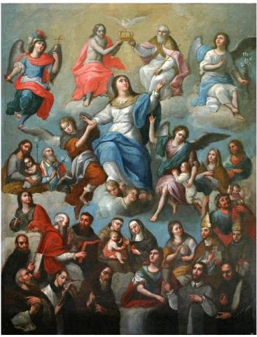 San Miguel Arcángel y la coronación de la virgen María