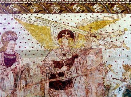 Virgen María y San Miguel Arcángel como el pesador de las almas