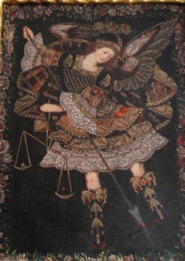 San Miguel Arcángel con su lanza y escala