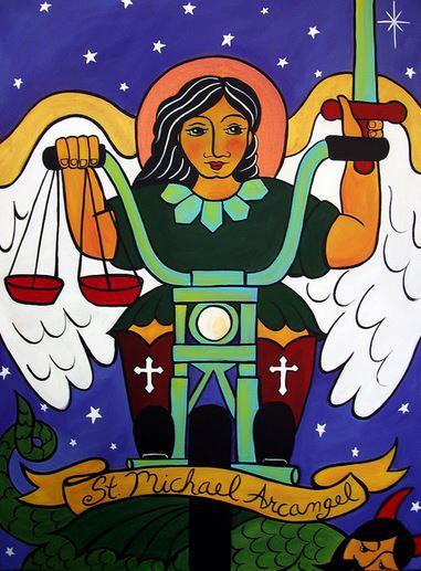 San Miguel Arcángel en motocicleta