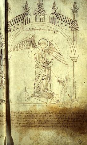 San Miguel Arcángel atravesando con una lanza al Dragón