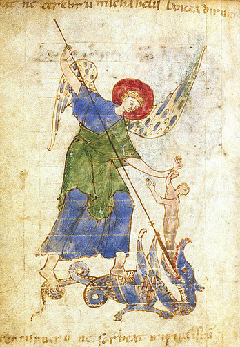 San Miguel Arcángel salvando a una alma del demonio