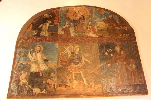 San Miguel Arcángel en lucha con Lucifer