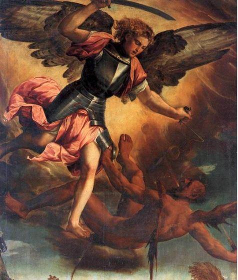San Miguel Arcángel en batalla con el demonio