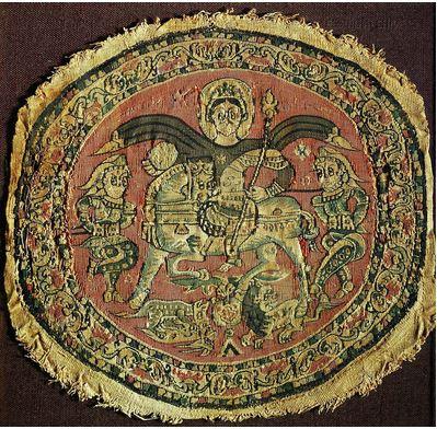 San Miguel Arcángel en textil Coptos