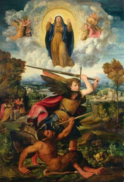 La Asunción de la Virgen con San Miguel Arcángel que vence al diablo