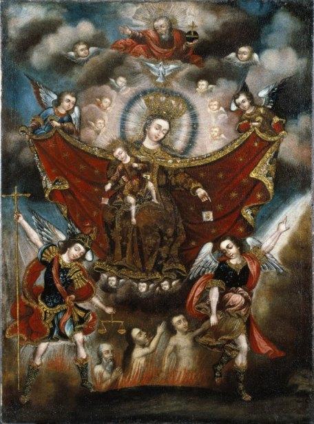 La Virgen del Carmen y San Miguel Arcángel salvando almas en el purgatorio