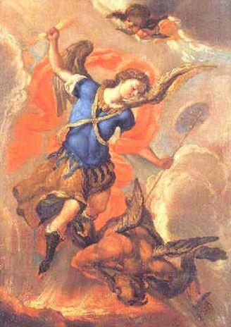 San Miguel Arcángel en batalla con Lucifer