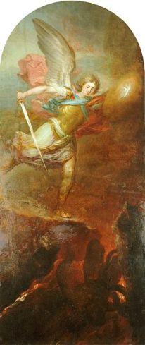 San Miguel Arcángel expulsando al infierno a Lucifer