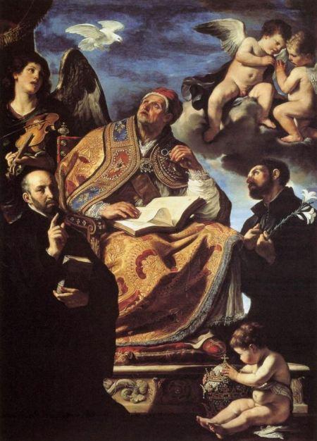 San Miguel Arcángel, Guercino, el Papa San Gregorio Magno con San Ignacio y San Francisco Javier
