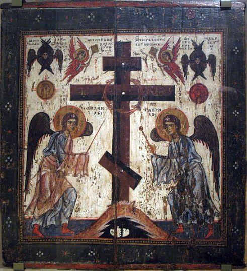 San Miguel Arcángel y el Arcángel Gabriel en la crucifixión