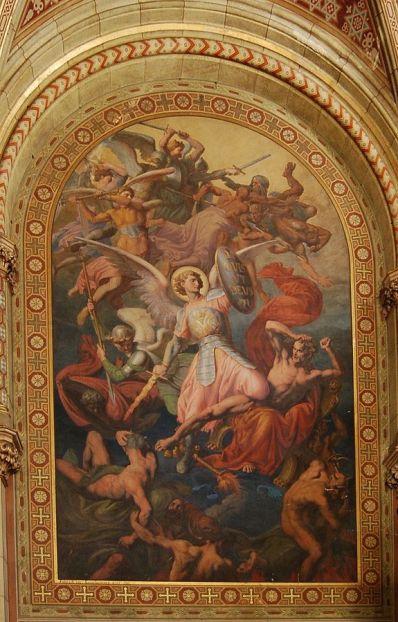 San Miguel Arcángel en la caída de los ángeles rebeldes