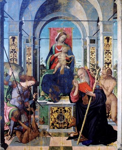 San Miguel Arcángel en lucha contra el demonio, La Virgen con el Niño, San Antonio y el Arcángel Miguel