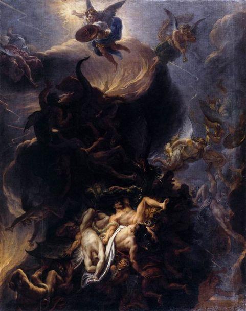 San Miguel Arcángel y la caída de los angeles rebeldes