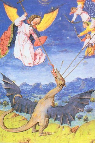 San Miguel y los ángeles luchan contra el Guivre
