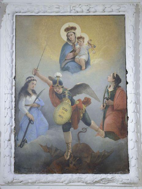 Virgen con el Niño, San Miguel Arcángel, Santa Lucía y otro Santo Mártir