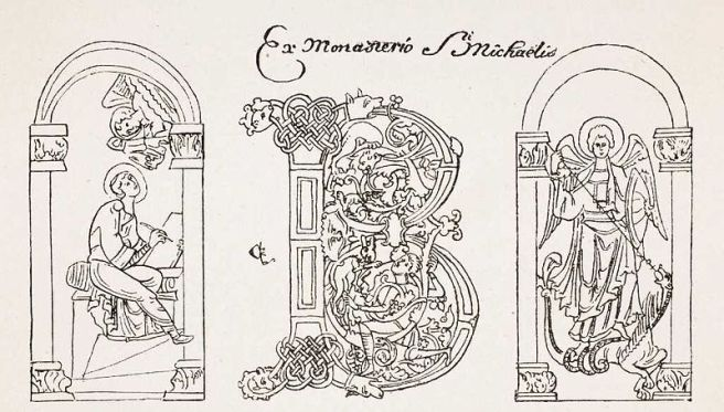 San Miguel aniquilando al dragón y San Agustín escibiendo bajo el dictado de un ángel