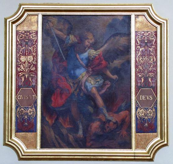 San Miguel Arcángel en pelea con Satanás