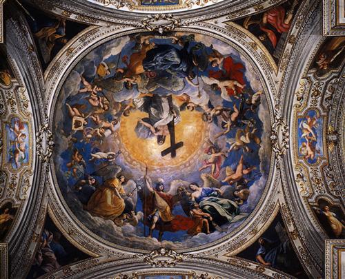 Cristo en la gloria entre los ángeles y San Miguel Arcángel