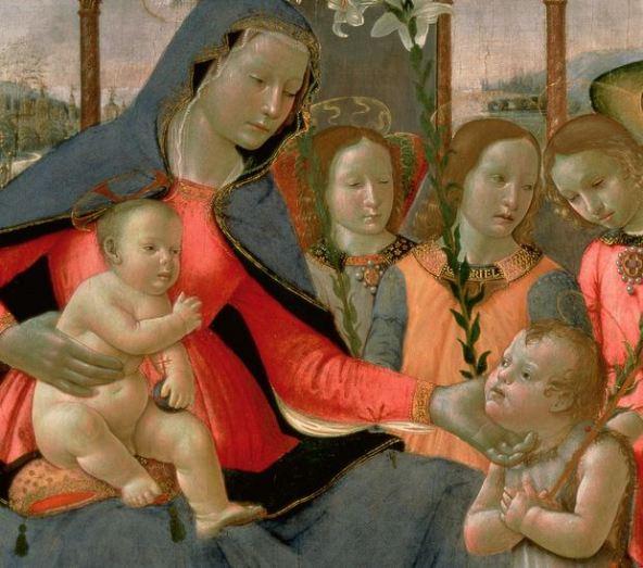 La Virgen María, el Niño Jesús, San Juan Bautista y los 3 Arcángeles