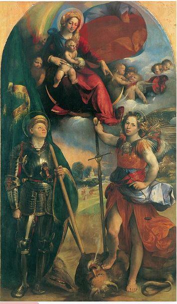 La Virgen María, el Niño Jesús, San Miguel Arcángel y San Jorge