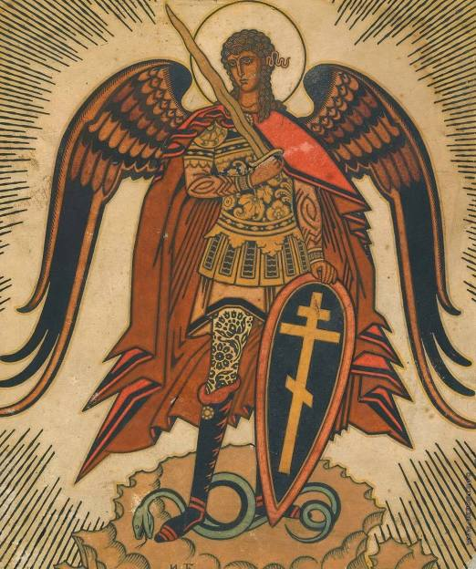 San Miguel Arcángel aplastando a la serpiente