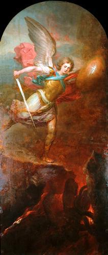 San Miguel Arcángel enviando al infierno a Lucifer