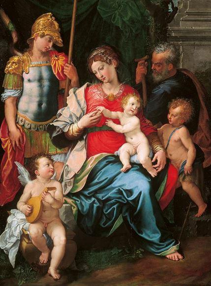 Conversación Sagrada de la Virgen María el Niño Jesús Niño con los santos José y Miguel Arcángel