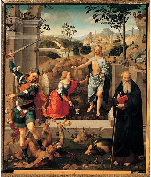 Cristo aparece a María Magdalena, San Miguel Arcángel y San Antonio Abad