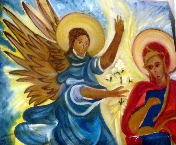 La Virgen María y San Miguel Arcángel