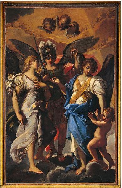 Los tres Arcángeles Miguel, Rafael y Gabriel con Tobias