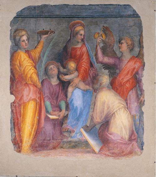 San Miguel Arcángel conversando con la virgen María