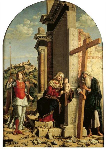 San Miguel Arcángel, la Virgen María y el santo Niño