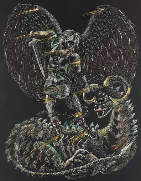 San Miguel Arcángel luchando con la bestia