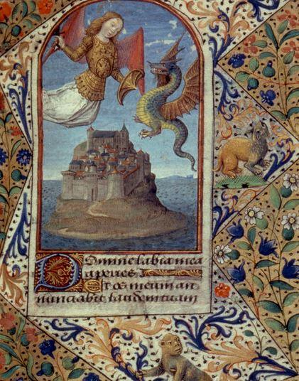 San Miguel luchando contra el dragón sobre Mont-St-Miguel