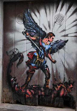San Miguel Arcángel en lucha con la bestia