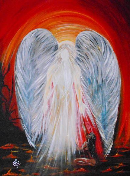 San Miguel Arcángel ayudando a las almas condenadas