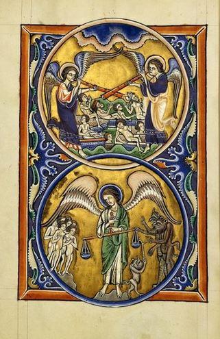 San Miguel Arcángel en la resurrección de los muertos y pesaje de las almas