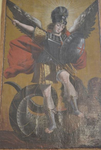 San Miguel Arcángel en lucha contra el demonio