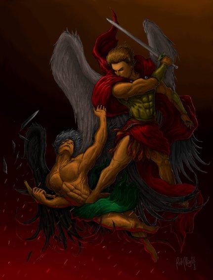 Arcángel San Miguel en batalla contra satanás