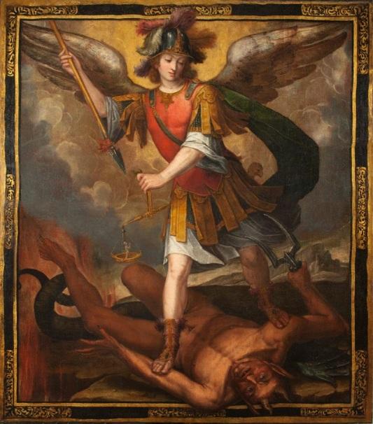 El Príncipe de la Milicia Celestial derrotando a Lucifer