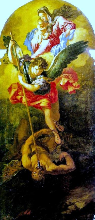 Miguel Arcángel con la Virgen y el niño