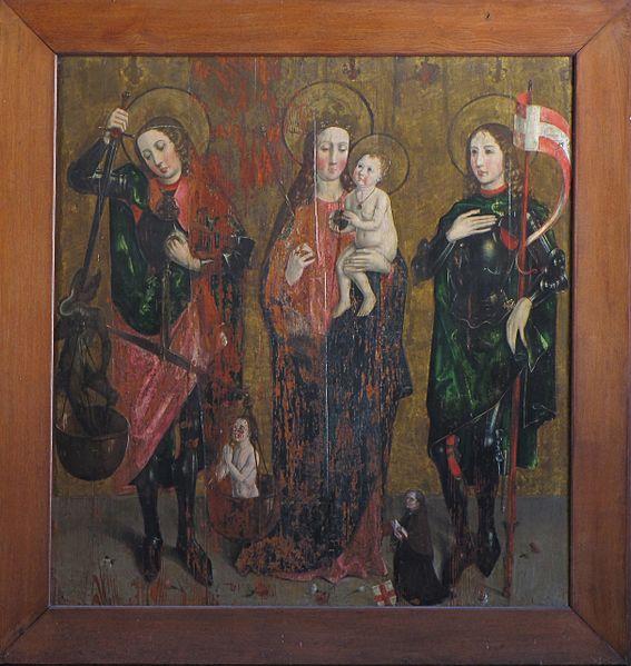Pintura de San Miguel Arcángel, La Virgen y el niño y San Gangolphe