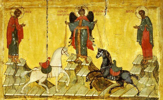 El icono de San Miguel Arcángel y el milagro de Floro y Laurus con Vlasov y Spyridon