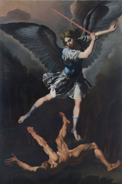 El Príncipe de la milicia celestial derrotando a Lucifer,